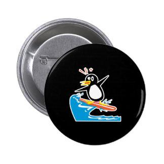 gofy surfing penguin 6 cm round badge
