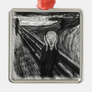 Gogh Mental Remake: The Scream by Edvard Munch Silver-Colored Square Decoration