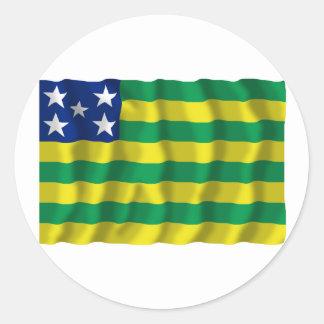 Goiás, Brazil Waving Flag Classic Round Sticker