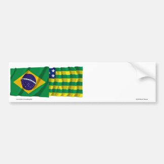Goiás &  Brazil Waving Flags Car Bumper Sticker