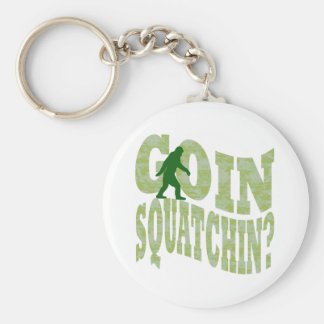 Goin squatchin? text & green camo key ring