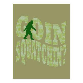 Goin squatchin? text & green camo postcard