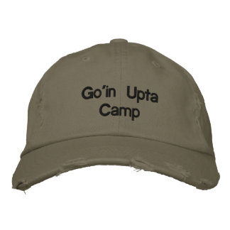 Go'in Upta Camp Distressed Chino Cap in Olive