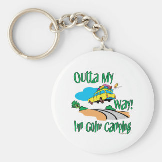 Going Camping Basic Round Button Key Ring