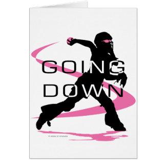 Going Down Pink Catcher Softball Card