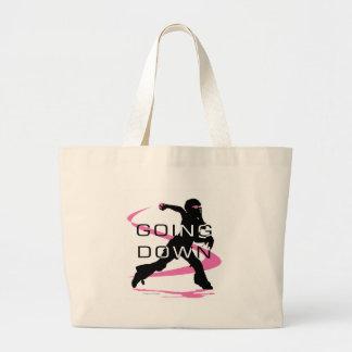 Going Down Pink Catcher Softball Jumbo Tote Bag
