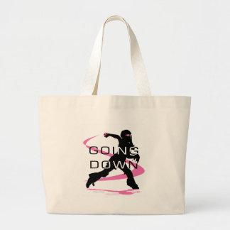 Going Down Pink Catcher Softball Large Tote Bag