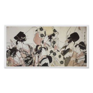 Going Down to the East, Utamaro, 1795 Poster
