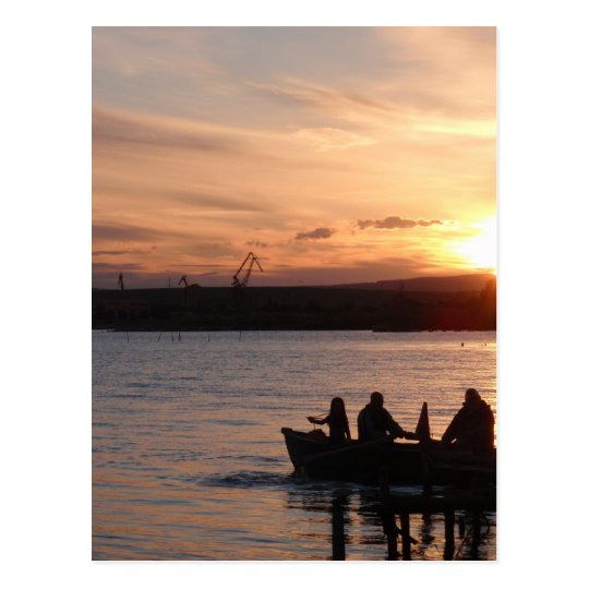 Going Fishing At Sunset Postcard
