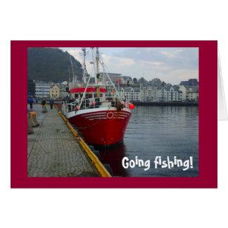 Going fishing! Deep water fishing boat Card
