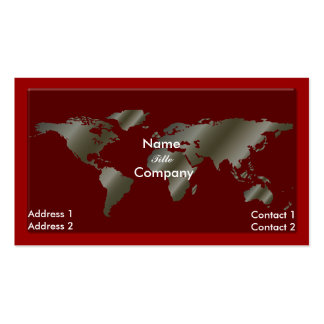 Going Global /silver/red business card
