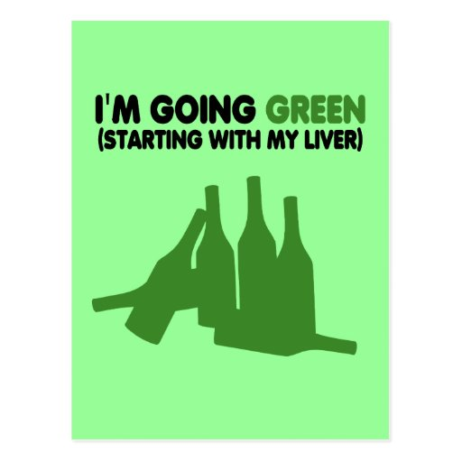 Going green,beer post cards
