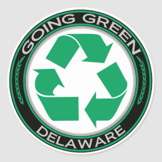 Going Green Recycle Delaware Classic Round Sticker