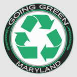 Going Green Recycle Maryland Round Sticker