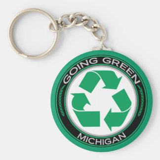 Going Green Recycle Michigan Key Ring
