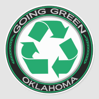 Going Green Recycle Oklahoma Classic Round Sticker