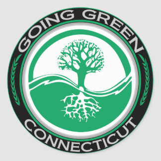 Going Green Tree Connecticut Round Sticker