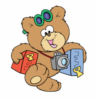 going on vacation tourist teddy bear standing photo sculpture