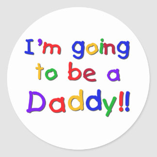 Going to be a Dad-Primary Colors Round Stickers