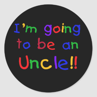 Going to be an Uncle Primary Colors Text Round Sticker