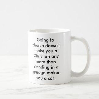 Going to Church Doesn't Make you Christian... Basic White Mug