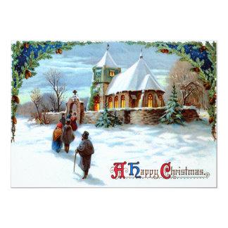 Going To Church Evergreen Christmas Tree 13 Cm X 18 Cm Invitation Card