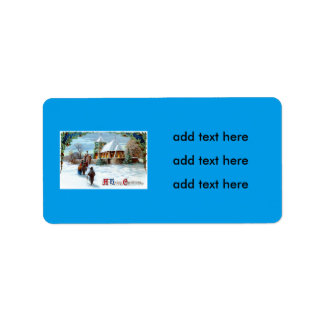 Going To Church Evergreen Christmas Tree Address Label