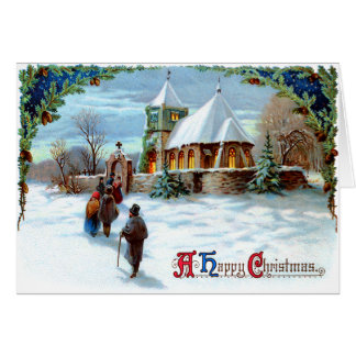 Going To Church Evergreen Christmas Tree Greeting Card