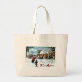 Going To Church Evergreen Christmas Tree Jumbo Tote Bag
