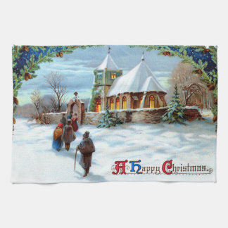 Going To Church Evergreen Christmas Tree Tea Towel