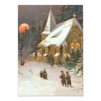Going To Church Tree Snow Moon Stars 13 Cm X 18 Cm Invitation Card