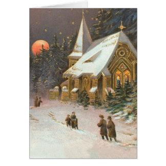 Going To Church Tree Snow Moon Stars Greeting Card
