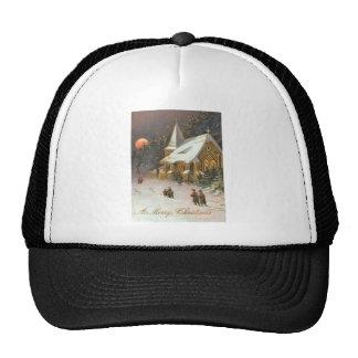 Going To Church Tree Snow Moon Stars Trucker Hats
