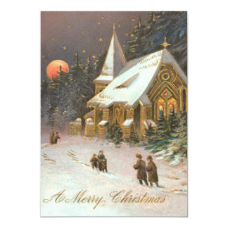 Going To Church Tree Snow Moon Stars 5x7 Paper Invitation Card