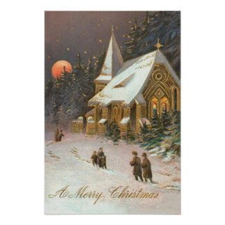 Going To Church Tree Snow Moon Stars Poster