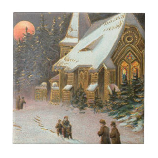 Going To Church Tree Snow Moon Stars Small Square Tile