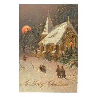 Going To Church Tree Snow Moon Stars Wood Prints