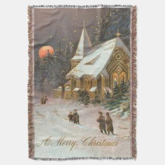 Going To Church Tree Snow Moon Stars Throw
