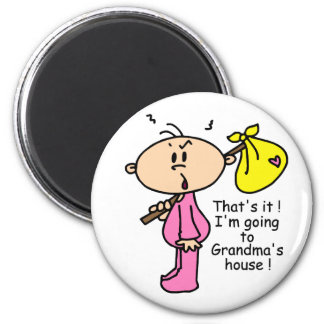 Going To Grandma's House Baby (Pink) 6 Cm Round Magnet