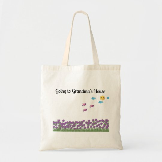Going to Grandma's House Purple Flowers Tote