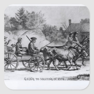 Going to Meeting in 1776, 1876 Square Sticker