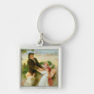 Going to the Fair Silver-Colored Square Key Ring