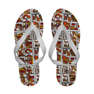 Going To The Playground - Abstract Art Ink Drawing Sandals