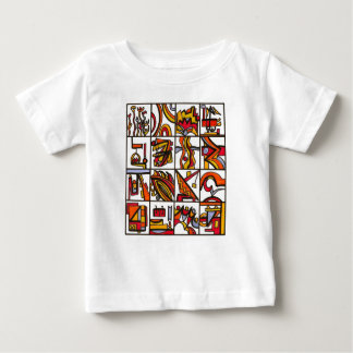 Going To The Playground-Modern Art Ink Drawing Baby T-Shirt