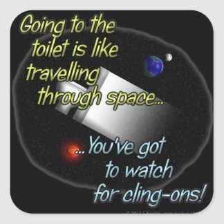 Going to the toilet is like travelling through... square sticker