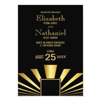 Gold 1920s Art Deco Wedding Invitation
