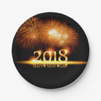 Gold 2018 Happy New Year Fireworks Paper plates
