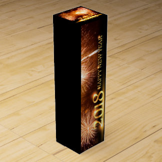 Gold 2018 Happy New Year Fireworks Wine Box