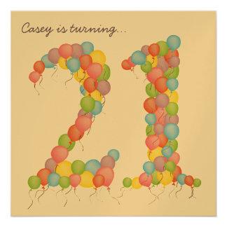 Gold 21st Birthday Party Balloons Custom Invite