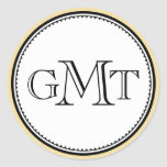 Gold 3 initial letter monogram royal elegance seal